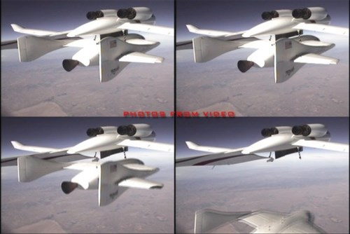 A few stills of the drop sequence video. (permission to use picture from Kaye LeFebvre of Scaled Composites)