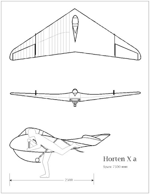 Horten HXa, the first of the hanggliders of Reimar Horten. The pilot is nearly complete inside the wing.