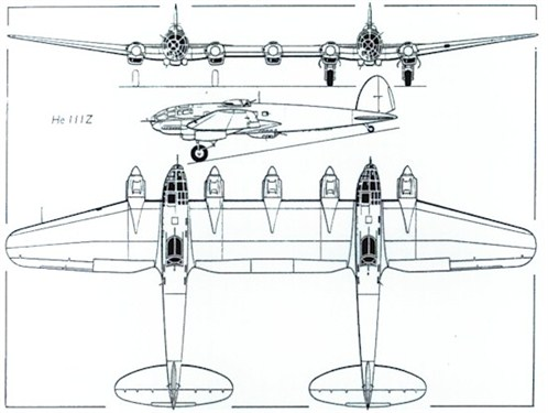 Probably the only well known German twin: the Heinkel He 111 Z (Zwilling)