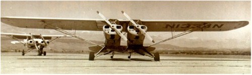 A twin-variant of the Piper Cub. Note the props which are placed VERY close.
