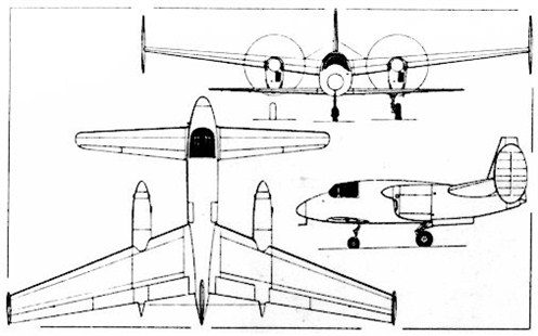 Miles M 39 B with its unusual engine configuration.It has a higher wing area ratio between both wings as the M 35.
