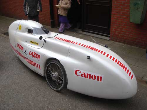 The WAW, a velomobile, I bought. Passing by unnoticed in this is ...impossible. :)